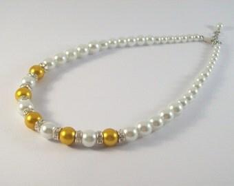 Gold Bridal Necklace, Bridal Jewelry, Wedding Necklace, Wedding Jewelry Pearl Necklace,Bridesmaid Jewellery, Bridesmaid Necklace