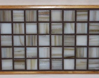 White and brown glass mosaic trivet