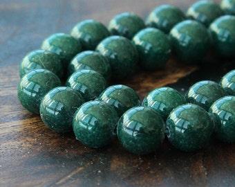 Mountain Jade Beads, Dark Hunter Green, 10mm Round - 15 inch strand - eMJR-G13-10
