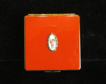 Vintage 1930s Compact Enamel Compact Guilloche Compact Powder Compact Mirror Compact Art Deco Compact Made in USA Excellent Condition