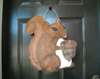 Burlap Squirrel Door Hanger