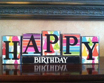 HAPPY BIRTHDAY Wood Block Sign / Kid's Birthday Party Home Decor / Birthday Party Accessories