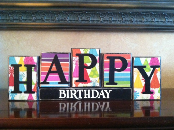 Happy Birthday Wood Block Sign Kid S Birthday Party Home