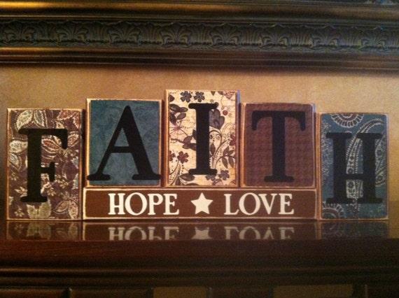 Faith hope love wood block sign religious sign home decor for Faith decor