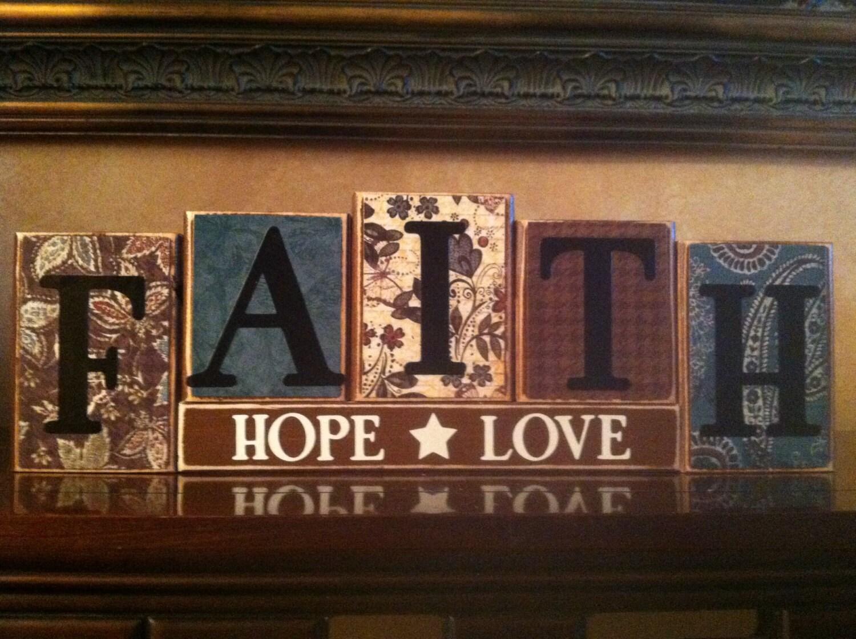 FAITH HOPE LOVE Wood Block Sign / Religious Sign / Home Decor