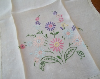 Vintage embroidered flowered dishclothe towel sweet daisy  pastels  pink, blue, green, purple, yellow by hermina's cottage