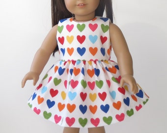 Pretty Spring Colorful Heart Party Dress for American Girl Doll 18 Inch