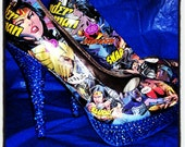 Blinged Out Comic book heels...Women's size 6-11