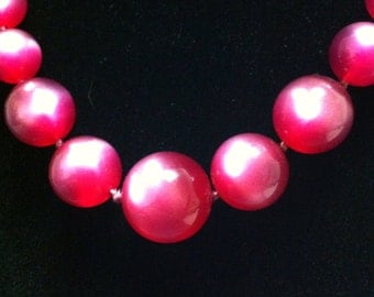 Pink/Fushica Moonstone Thermoset Beaded Necklace