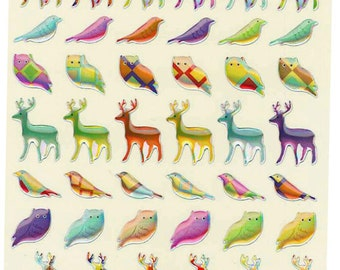 Korean Scrapbook Die-cut Epoxy Stickers, Pattern animal (Hologram) (STSM03080)
