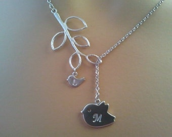 PERSONALIZED INITIAL Mommy and Baby Bird Lariat Necklace, Family initial necklace - Christmas necklace, Christmas gift, mom gift