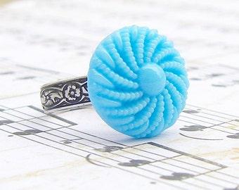 Blue Twirl - adjustable vintage Czech glass button ring