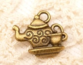Two-Sided Swirly Teapot and Teacup Charms, Antique Bronze (6) - A35