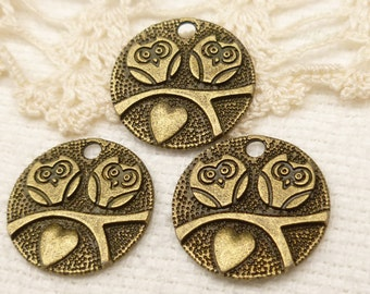 Valentine's Wedding Pair of Owl Coin Charms (6) - S116