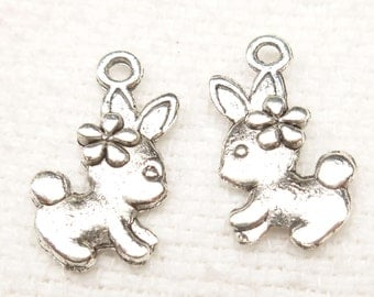 Tiny Bunny with Flower Charms, Easter Bunny, Antique Silver (8) - S127