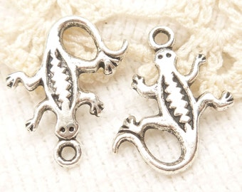 Southwestern Style Lizard Charms, Antique Silver (8) - S154