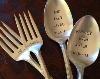 Happily Ever After   Wedding Forks and Spoons Stamped Vintage Silverplate Set