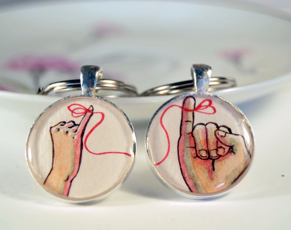 boyfriend girlfirend keychain set, red string of fate, hand painted