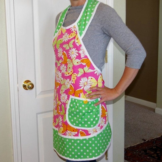 Ladies Pink and Green Retro Apron. Spring Butterfly Apron- Size Small