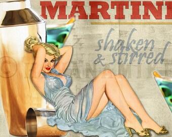 SHAKEN & STIRRED Martini Vintage Pinup Poster Print