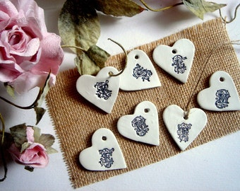 Ceramic Hearts, 50 Wedding Favor Hearts Monogram, Personalized Clay Hearts,