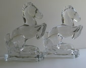 L E Smith ART DECO Rearing Horse Crystal Bookends / Equine / Clear Glass