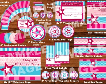American Girl Party Package - Doll Party Pack - American Girl Doll Birthday Party - Party Printable Package - Stars Stripes