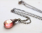 Red orange czech glass necklace wire wrapped fire opal luster antiqued solid brass chain