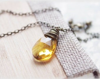 Yellow crystal necklace wire wrapped faceted large citrine color glass antiqued brass gifts for her under 20