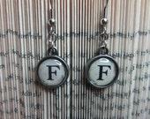 Vintage Style Typewriter Key Mini Initial Charm Earrings - Letter F