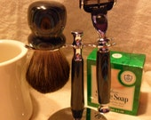 shave kit With brush, cup, soap, stand razor handle mach3 razor head