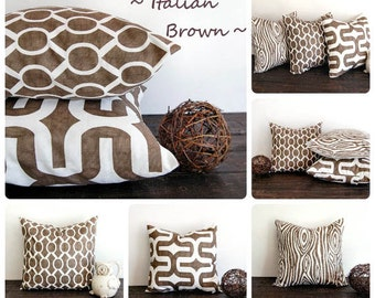 "Italian Brown pillow cover 22"" x 22"" One cushion cover Italian Brown and white throw pillow cover"