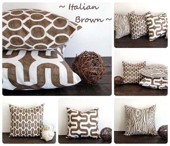 Small Brown Decorative Pillows : Italian Brown pillow cover 22 x 22 One cushion by ThePillowPeople