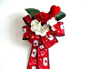 Valentine heart gift bow/ Red and white Valentine's Day bow/ Large gift wrapping bow/ Bow for Valentine decorating/ Sweetheart gift bow (V1)