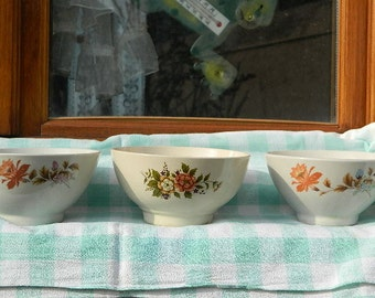 "1970 Vintage French ""Three bowls with flowers"""