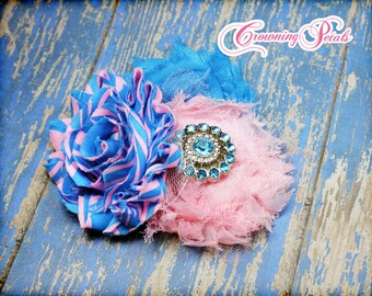 Pink, turquoise Headband, Shabby Chiffon Flower Bow, Fabric Flower Brooch, Baby Hair Accessories, Cerulean, Baby Girl Hair Bow, photo prop