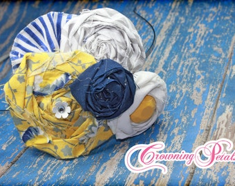 Mustard Yellow, Navy, White Hair Bow, Fabric Flower Headband, Hair Accessories, Flower Hair Clip, Baby Girl Hair Bow, Brooch, Hair Piece
