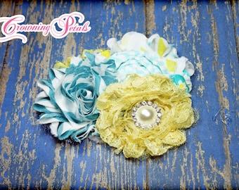 Yellow, Turquoise Headband, Aqua, White Fabric Flower Hair Bow, Baby Headband, Baby Hair Bows, Fabric Flowers, Flower Brooch Pin, Hair Piece