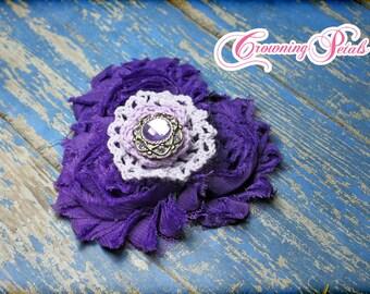 Lavender, Purple Headband, Hair Accessory, Purple Hair Bow, Fabric Flower Hair Piece, Shabby Chiffon Bow, Hair Accessory, Baby Girl Hairbow