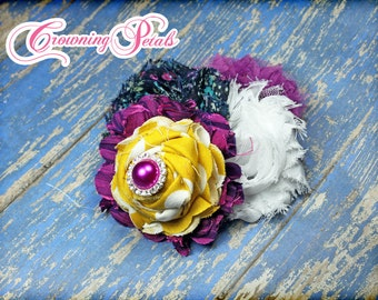 Mustard Yellow, Navy, Raspberry Headband, Fuchsia Flower Hair Accessory, Amaranth, Blue Fabric Flower Brooch, Hair Clip, Purple Hair Piece