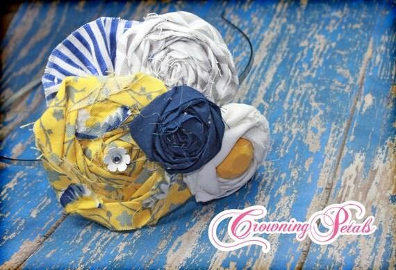 Mustard Yellow, Navy, White Hair Bow, Fabric Flower Headband, Hair Accessories, Flower Hair Clip, Baby Girl Hair Bow, Brooch, Hair Piece