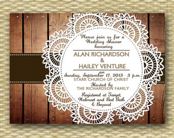Rustic Wood Autumn/Fall Bridal/Wedding or Baby Shower Invitation - Country