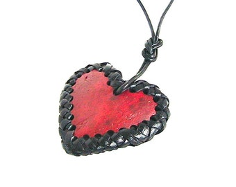 Oxblood Red Heart Pendant, Valentines Jewelry, Coconut Shell Jewelry, Leather Necklace, Wearable Art