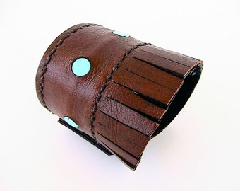 Fringed Leather Cuff Bracelet, Brown and Black Reversible Cuff, Turquoise Colored Stone Bead Inlay