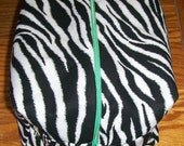 100% Cotton zipper Zebra pattern pouch (lined) with handle