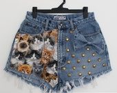 Vintage High Waisted CAT / Cats Distressed Cut Off Shorts with Gold Studs and Denim Bow, S