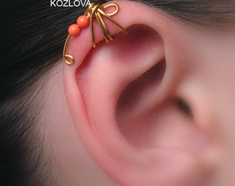 No Pierce Helix Ear Cuff Coral Dragonfly/cartilage ear cuff/ohr faux fake piercing/ohrklemme/helix manschette/ear jacket/piercing imitation
