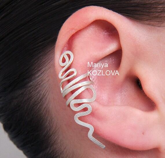 No Piercing Cartilage Ear Cuff Snake/piercing imitation/fake faux piercing/ear jacket manchette/ohrklemme ohrclip/conch cuff/false pierce