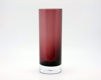 Vintage cylindric glass vase in plum / eggplant colour