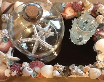 Seashell Mirror/Seashell Mirrored Tray/Seashell Plateau